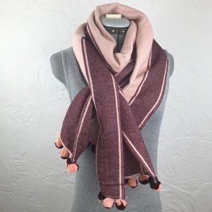 Lands End Pink and Maroon Pom Pom Scarf